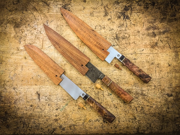 Three Japanese kitchen knives