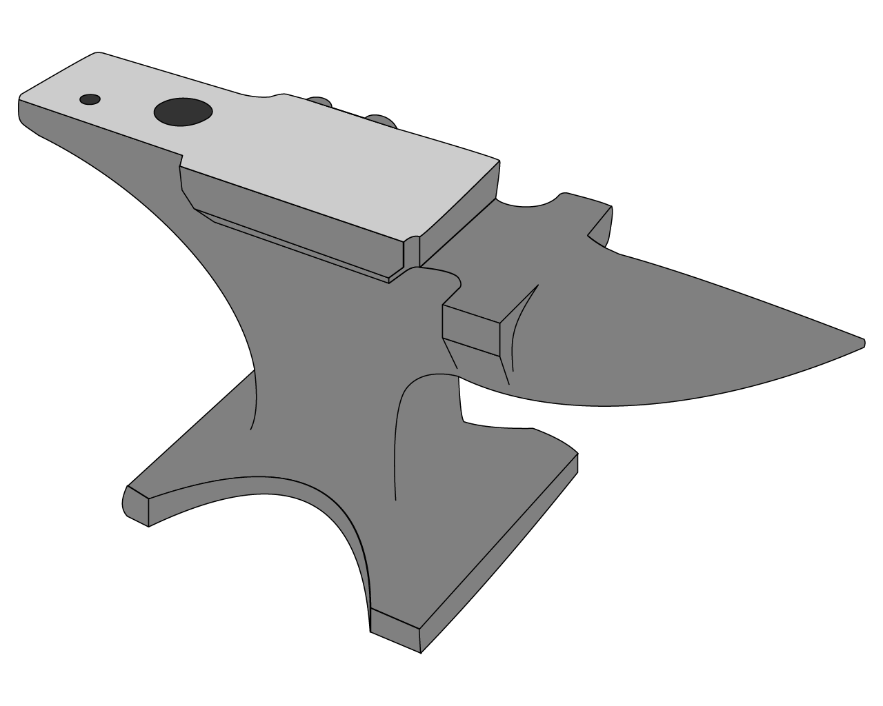 line art drawing of a London pattern anvil